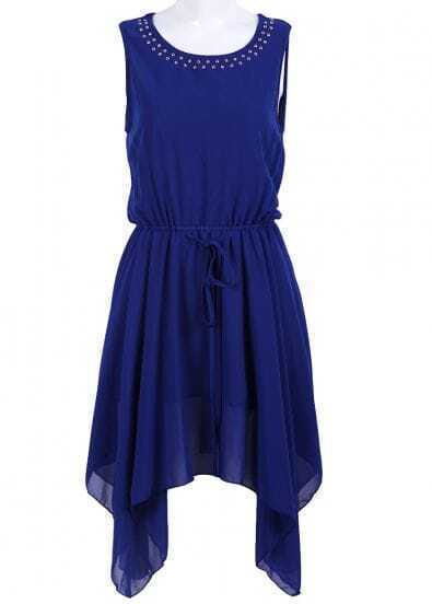 Blue Sleeveless Rivet Drawstring Chiffon Dress
