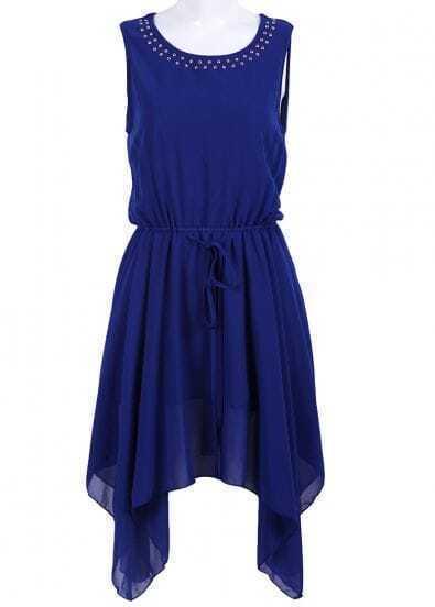 Blue Sleeveless Rivet Drawstring Chiffon Dress