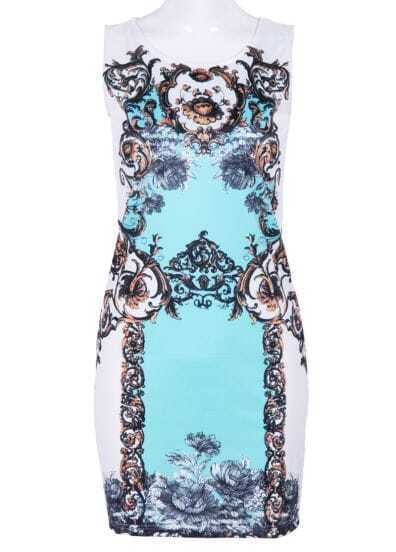 White Blue Sleeveless Floral Backless Dress