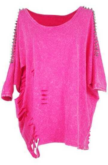 Rose Pink Hollow Ripped Rivet Batwing Cotton T-Shirt