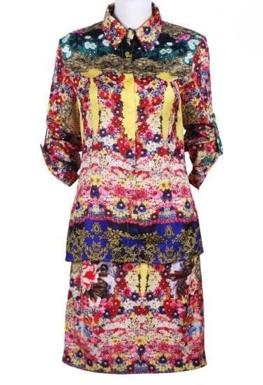 Multi Long Sleeve Floral Angel Print Tops With Skirt