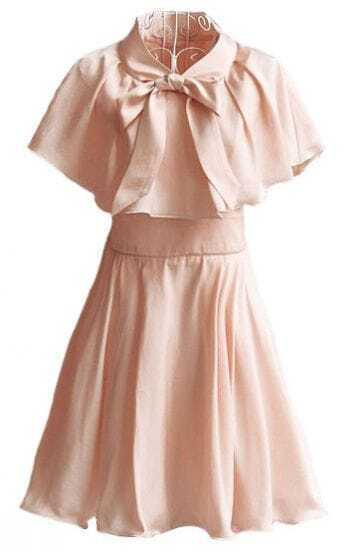 Pink V Neck Bow Ruffles Chiffon Dress