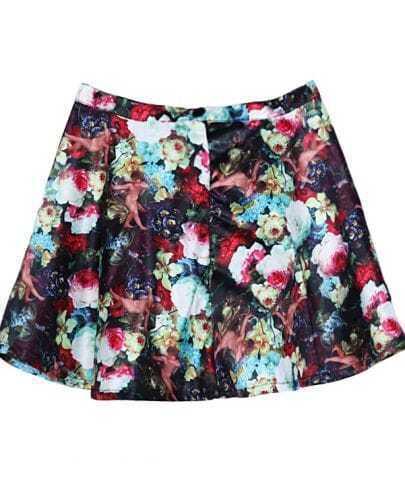 Multi Zipper Buttons Floral Skirt