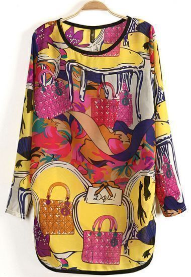 Yellow Red Long Sleeve Bag Print Straight Chiffon Dress