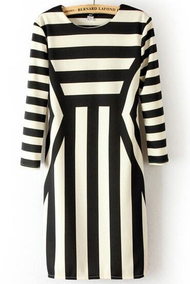 فستان مخطط أسود أبيض كم طويل غير المتكافئة