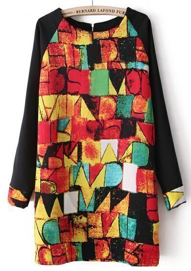 Black Long Sleeve Geometric Print Chiffon Dress