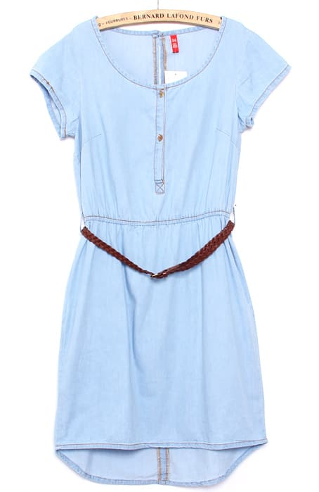 Light Blue Short Sleeve Belt Back Split Denim Dress -SheIn(Sheinside)
