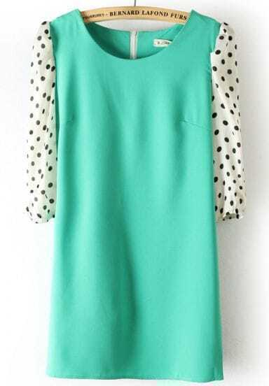 Green Polka Dot Half Sleeve Back Zipper Chiffon Dress