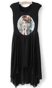 Black Sleeveless Beauty Print High Low Dress