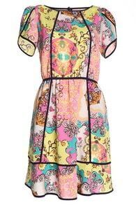 Multi Short Sleeve Contrast Trims Retro Print Dress