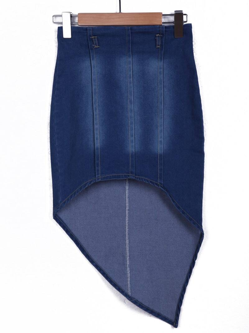 navy bleached leaf type denim skirt shein sheinside