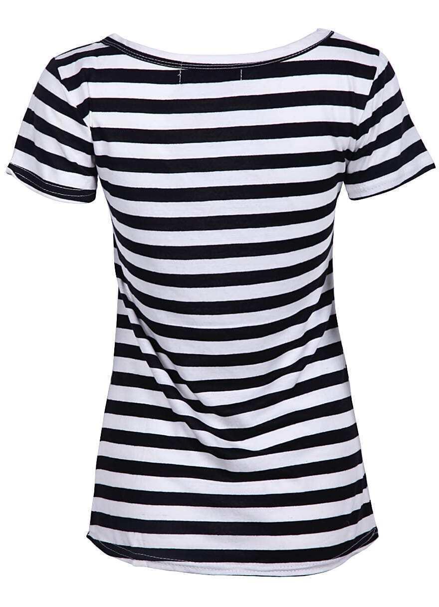 Black And White Striped Short Sleeve T Shirt Shein Sheinside