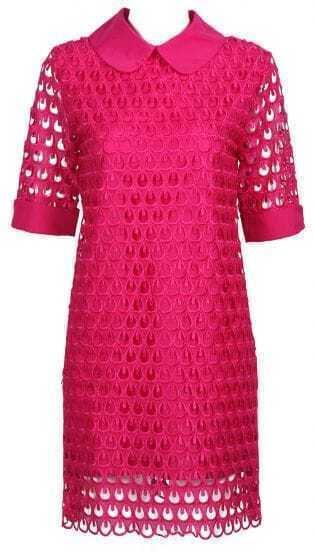 Rose Red Short Sleeve Lace Mesh Chiffon Dress