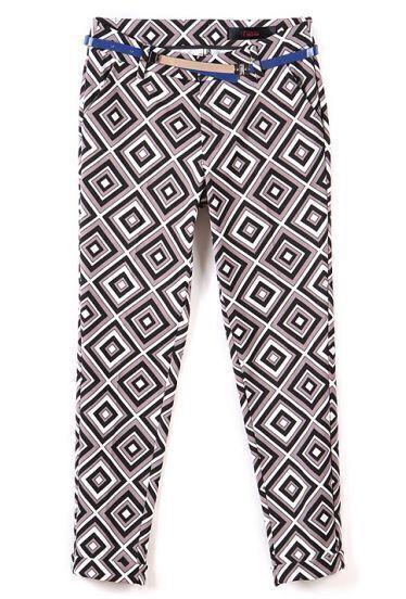 Black Slim Plaid Belt Pant