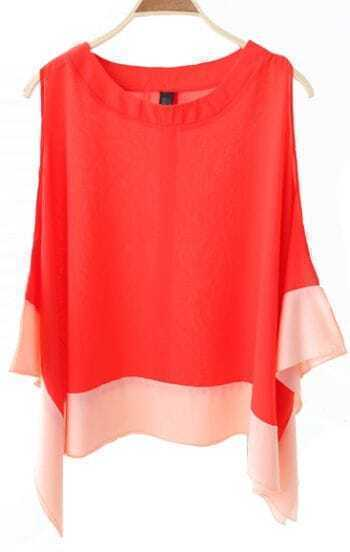 Color Matching Sleeveless Irregular Chiffon Shirt Orange