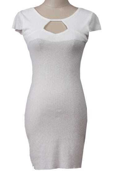 White Short Sleeve Hollow Bodycon Dress