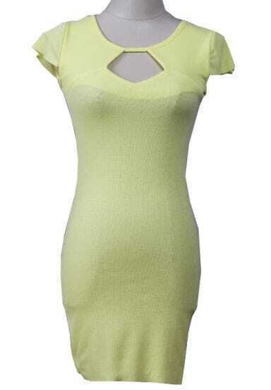 Yellow Short Sleeve Hollow Bodycon Dress