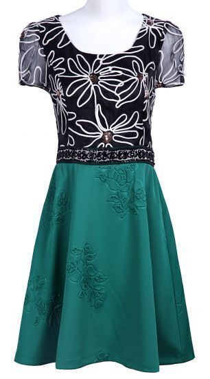 Black and Green Short Sleeve Organza Sequin Beading Dress