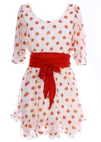Apricot Short Sleeve Polka Dot Belt Chiffon Dress