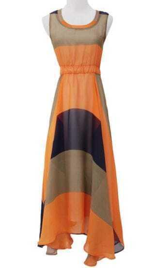 Orange Sleeveless Bandeau Full-Length Dress