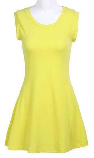 Yellow Round Neck Sleeveless Ruffles Dress