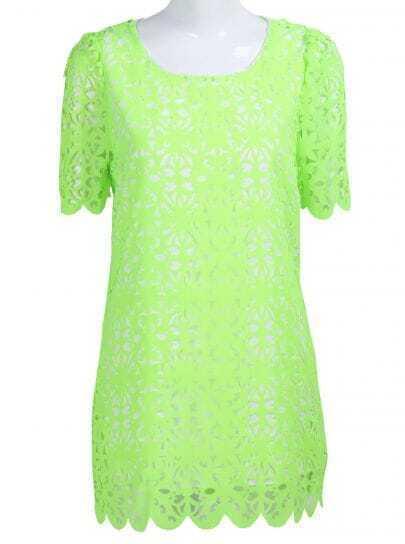 Green Short Sleeve Hollow Pattern Chiffon Dress