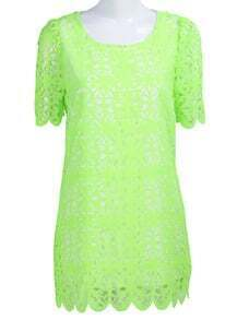 Green Short Sleeve Hollow Pattern Chiffon Dress