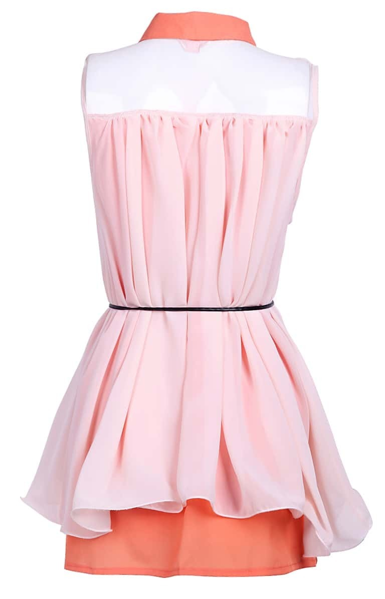 orange lapel sleeveless belt pleated chiffon dress shein