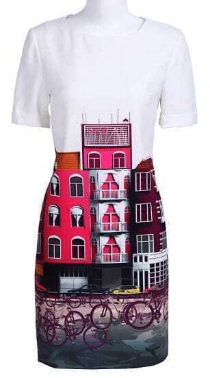 White Short Sleeve Buildings Bikes Print Silk Dress