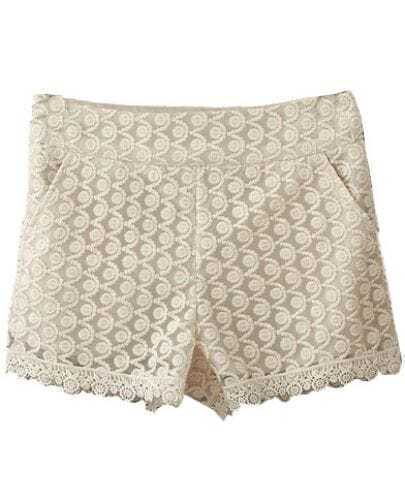 Beige High Waist Lace Shorts