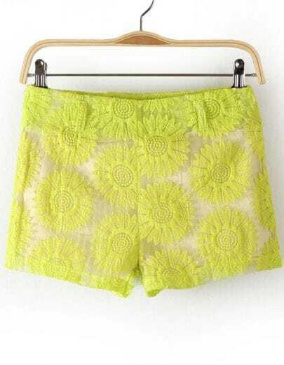 Green Sunflowers Pattern Lace Shorts
