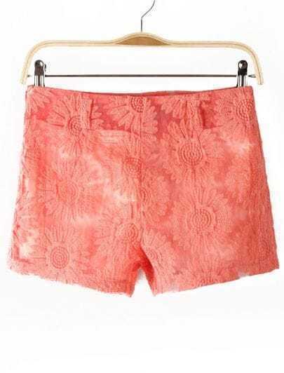 Pink Sunflowers Pattern Lace Shorts