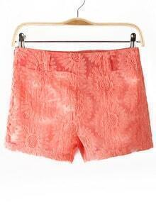 Pink Sunflowers Pattern Lace Shorts