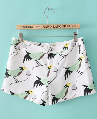 White Pockets Birds Print Shorts