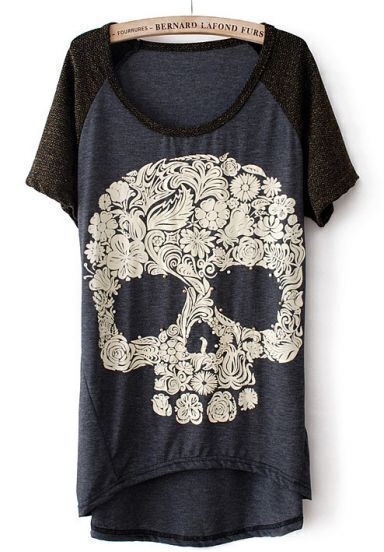 Grey Short Sleeve Skull Print Dipped Hem T-Shirt