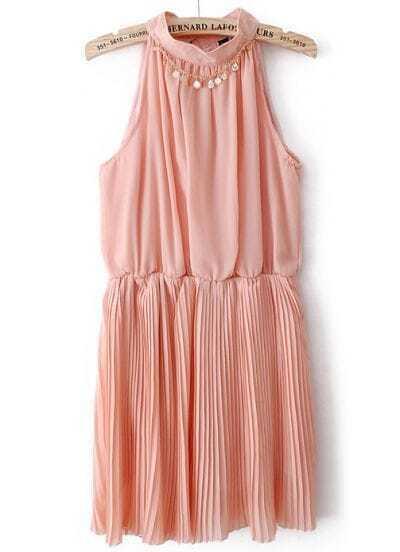 Dark Pink Halter Chain Pleated Chiffon Tank Dress