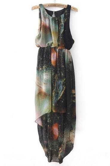 Black Sleeveless Galaxy High Low Chiffon Dress