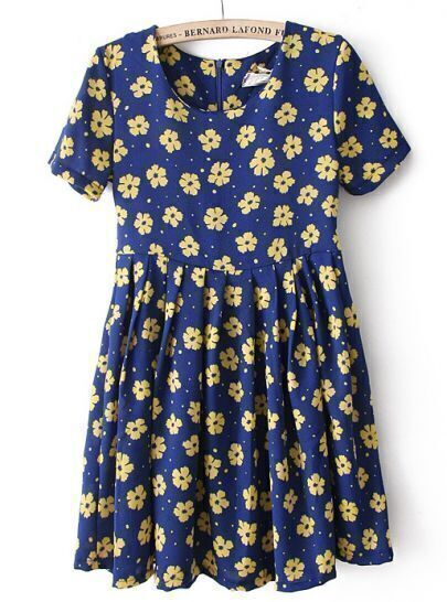 Blue Short Sleeve Daisy Print Pleated Dress