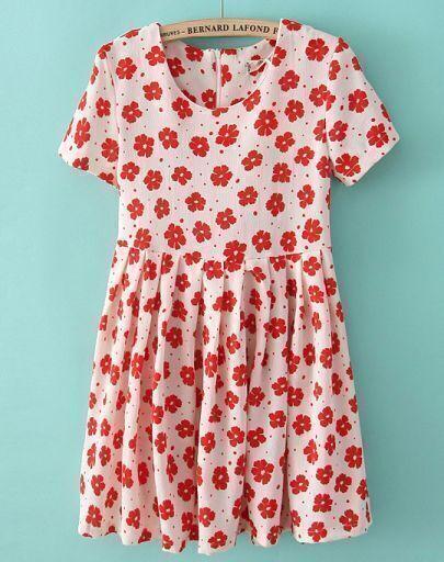 Orange Short Sleeve Daisy Print Pleated Dress