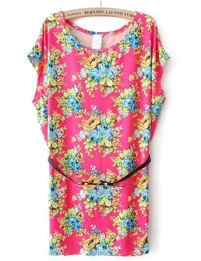 Red Batwing Short Sleeve Belt Floral Dress