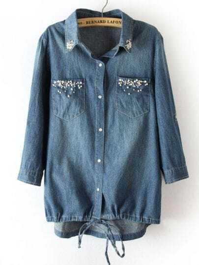 Blue Rhinestone Back Lace Drawstring Denim Blouse