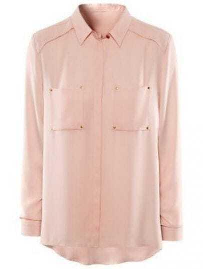 Pink Long Sleeve Pockets Embellished Blouse