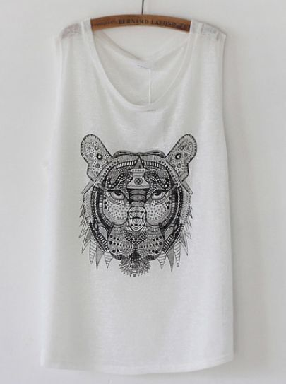 White Sleeveless Tiger Print Vest