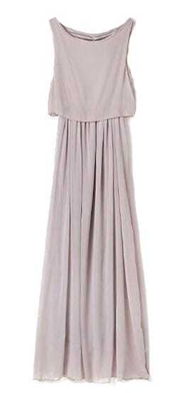 Grey Bohenmia Pleated Princess Chiffon Maxi Dress