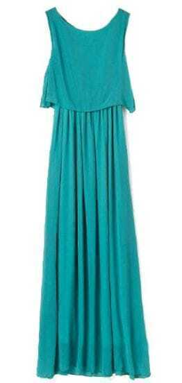 Green Bohenmia Pleated Princess Chiffon Maxi Dress
