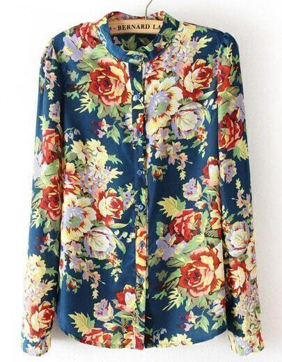 Blue Long Sleeve Floral Chiffon Blouse
