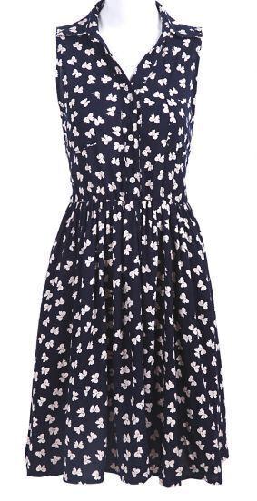 Navy Sleeveless Bow Print Pleated Dress