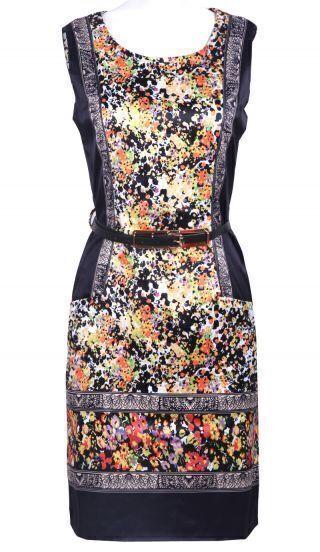 Navy Sleeveless Retro Print Belt Shift Short Dress