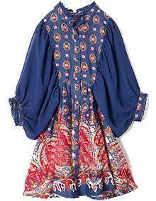 Blue Puff Sleeve Floral Loose Chiffon Dress