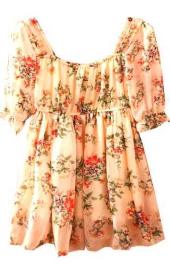 Pink Scoop Neck Puff Sleeve Floral Chiffon Dress